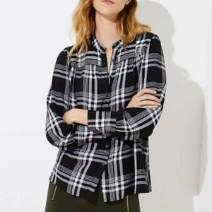 LOFT Black Plaid Blouse
